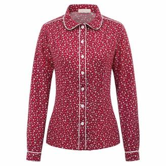 Belle Poque Long Sleeve Round Neck Flower Print Button Front T Shirt Blouse Women's Tops Floral-2#2028 XXL