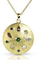 Kobelli Jewelry Kobelli 2 7/8 CT TW Multi-Color Diamond Hammered 18K Gold Medallion Pendant