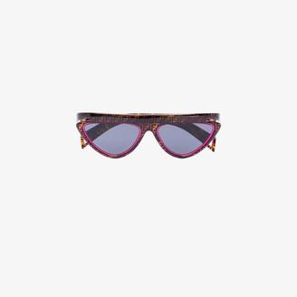 Fendi Eyewear brown and pink monogram cat eye sunglasses