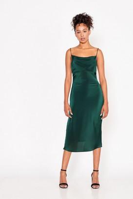 Little Mistress Forest Green Midi Satin Strappy Dress