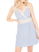 Miss Selfridge Stripe Lace Sundress, Pale Blue