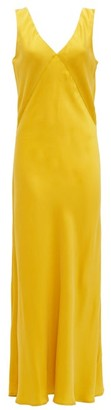 ASCENO Bordeaux V-neck Silk Slip Dress - Yellow