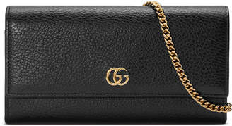 Gucci Petite Marmont GG Leather Flap Wallet on a Chain