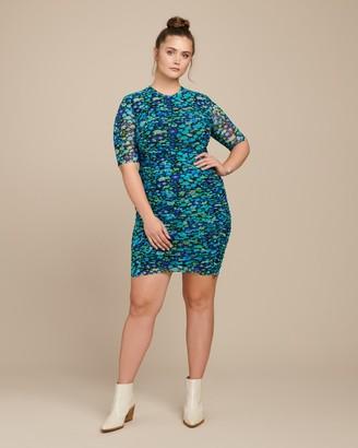 Ganni Printed Mesh Short Dress