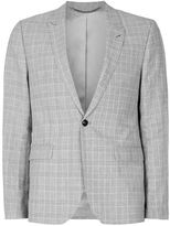 Topman Gray Check Skinny Fit Suit Jacket