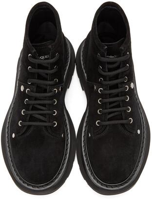 Alexander McQueen Black Suede Tread Lace-Up Boots
