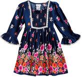 Sweet Heart Rose Blue & Pink Floral A-Line Dress - Toddler & Girls