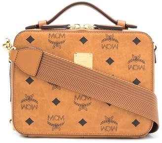 MCM Visetos-Print Double Zip Shoulder Bag