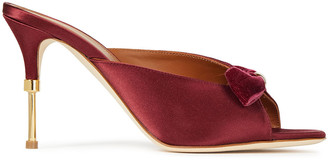 Malone Souliers Gathered Velvet And Satin Mules