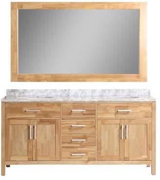 "Design Element London 72"" Double Sink Vanity Set, Honey Oak"