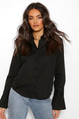 boohoo Woven Cuff Detail Shirt