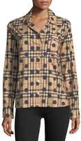 Burberry Checked Dot-Print Long-Sleeve Shirt