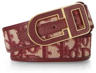 Christian Dior Burgundy Trotter Canvas Belt 65
