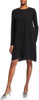 Eileen Fisher Silk Crepe Long-Sleeve Shift Dress