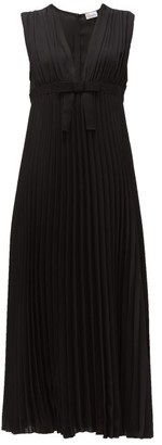 RED Valentino V-neck Pleated-chiffon Midi Dress - Womens - Black