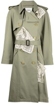 Thumbnail for your product : GOEN.J Double-Breasted Lace-Paneled Trench Coat