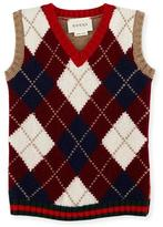 Gucci Gilet Wool Argyle Sweater Vest, Camel/Red/Green, Size 6-36 Months