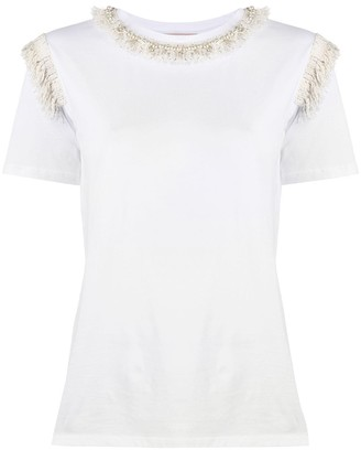 Twin-Set pearl fray trimmed cotton T-shirt