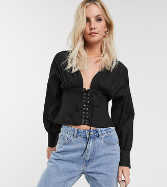 Asos DESIGN Petite cotton blouse with corset detail