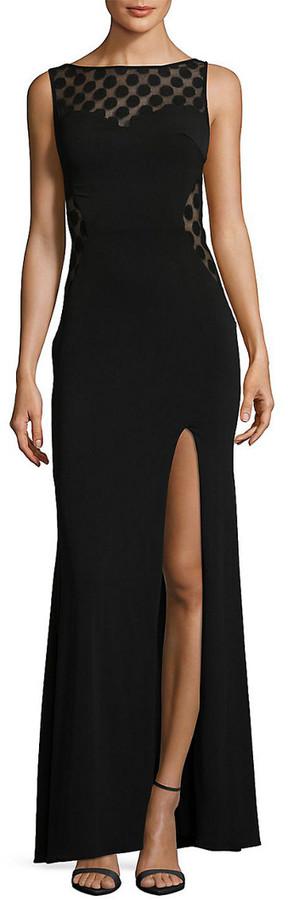 La Femme Bateau Neckline Floor-Length Dress