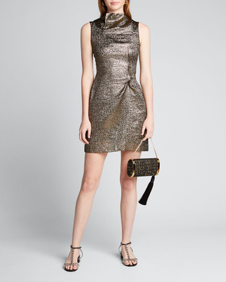 Roland Mouret Metallic Funnel-Neck Mini Dress