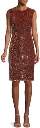 Vince Camuto Sequin Velvet Sheath Dress