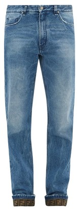 Fendi Ff-jacquard Straight-leg Jeans - Mens - Blue