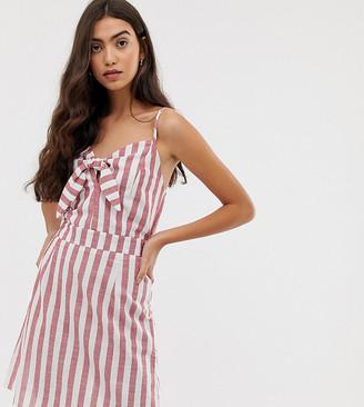 Brave Soul Tall tie front stripe sun dress-White