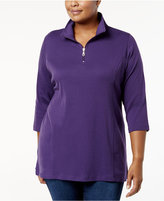 Karen Scott Plus Size Cotton Half-Zip Tunic, Created for Macy's