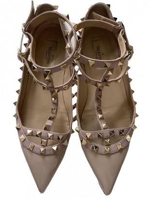 Valentino Rockstud Beige Patent leather Ballet flats