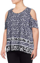 Lord & Taylor Petite Printed Cold-Shoulder Top