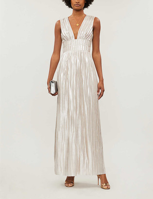 Ted Baker Aleccia metallic plunged-neck maxi dress