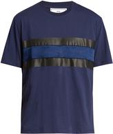 Ami Satin-panel crew-neck cotton T-shirt