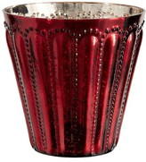 Pottery Barn Eclectic Mercury Glass Hurricanes - Red