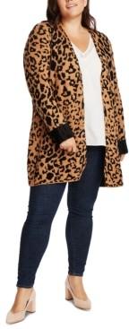 1 STATE Trendy Plus Size Animal-Print Cardigan