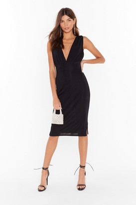 Nasty Gal Womens We'll V You There Plunging Midi Dress - Black