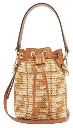 Fendi Mon Tresor Mini Ff-logo Raffia Bucket Bag - Tan