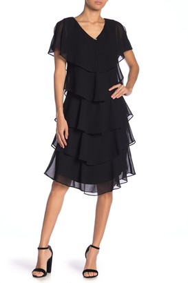 SL Fashions Ruffle Tiered V-Neck Dress