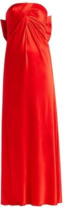 Alberta Ferretti Strapless Silk Bow Gown
