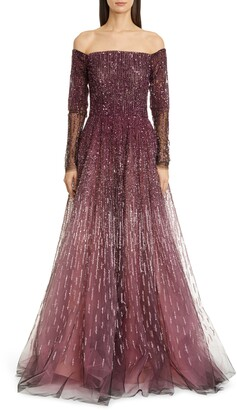 Pamella Roland Sequin & Crystal Embroidered Long Sleeve Gown
