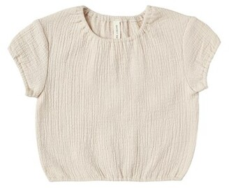 Quincy Mae Cinched Woven Tee - Natural - 3-6 Months