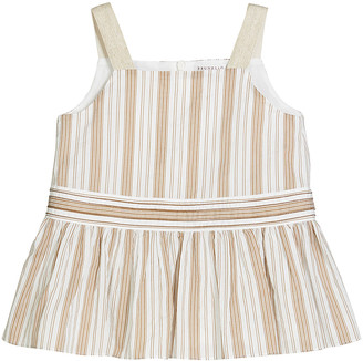 Brunello Cucinelli Girl's Striped Sleeveless Ruffle Top, Size 12-14