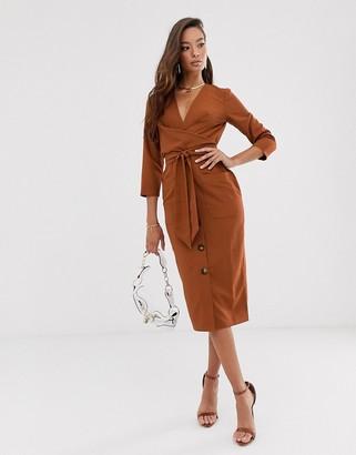 Asos Design DESIGN button through tie wrap around midi dress in rust
