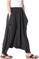 Mordenmiss Women's Casual Drop Crotch Harem Pants Gray