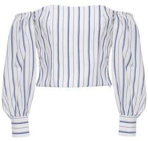 Claudie Pierlot Off-the-shoulder Striped Woven Top