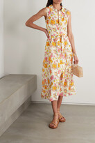 Thumbnail for your product : Saloni Vanessa Belted Floral-print Crepe De Chine Midi Dress - Ivory