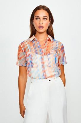 Karen Millen Geo Organza Short Sleeve Shirt