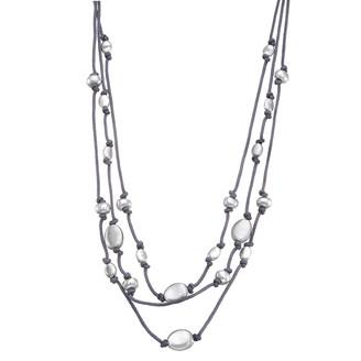Women's Bella Uno Worn Silver 3 Row Cord & Bead Necklace