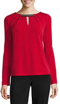 Liz Claiborne Long Sleeve Crew Neck Knit Blouse-Talls