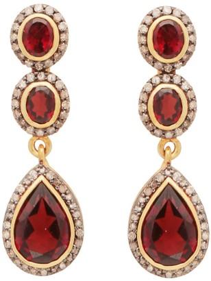 Carousel Jewels Diamond & Garnet Heirloom Earrings